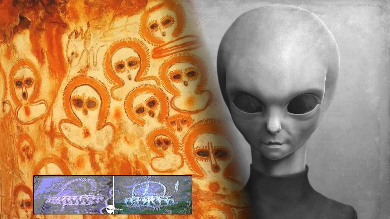 Crípticas pinturas rupestres de alienígenas y OVNIs en la India y otras partes del mundo