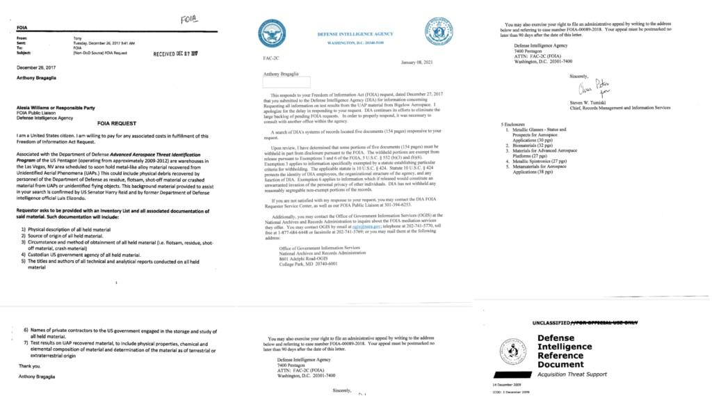 Pentágono admite haber analizado restos de OVNIs