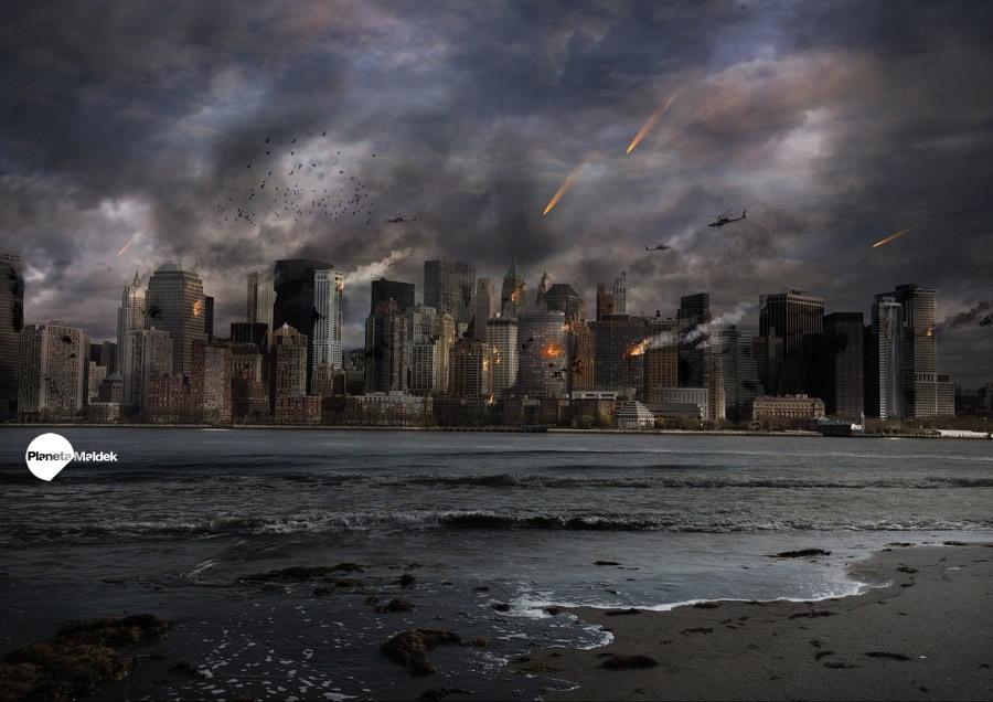 Una ciudad afectada por la guerra