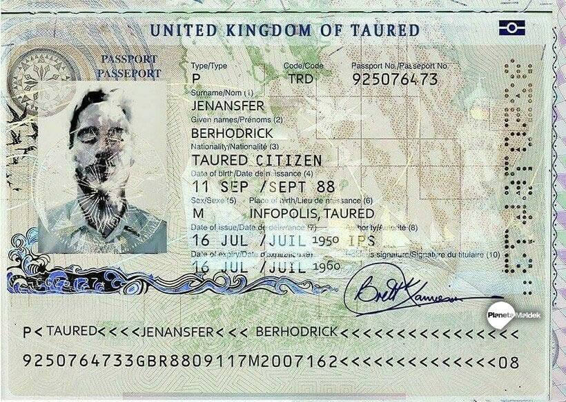 Supuesto pasaporte del país Taured