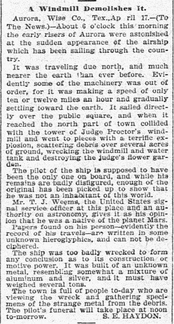 The Dallas Morning News, 19 de abril, 1897, p. 5, sobre el incidente Aurora