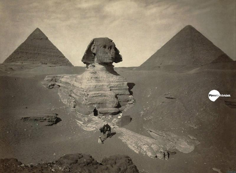 La Gran Esfinge parcialmente excavada, ca. 1878