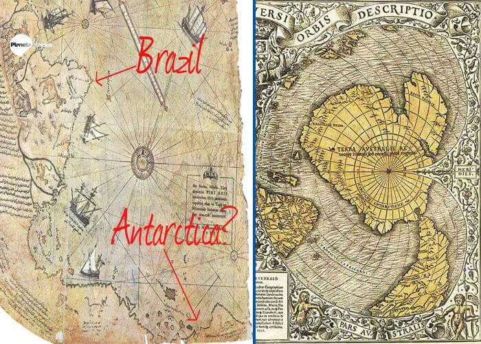 Parte de Piri Reis a la izquierda, parte del mapa de Oronteus Finaeus a la derecha, ambos muestran la Antártida sin hielo más líneas longitudinales