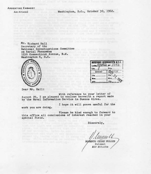 La notable carta muestra a los argentinos transmitiendo información OVNI a la CIA a pedido de ellos